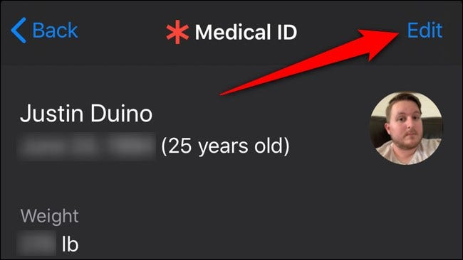 Apple iPhone Health App Select Edit