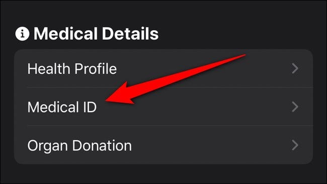 Apple iPhone Health App Select Medical ID