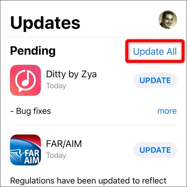 Apple iPhone iOS 12 App Store Select Update All