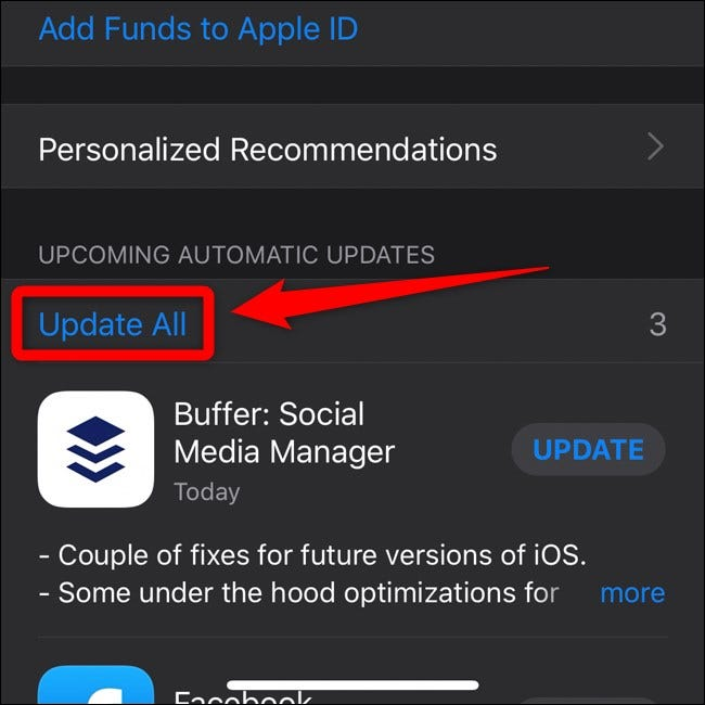 Apple iPhone iOS 13 App Store Select Update All