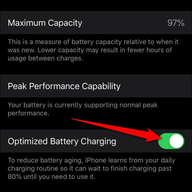 Apple iPhone Toggle Optimized Battery Charging