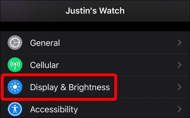 Apple iPhone Watch App Tap Display & Brightness