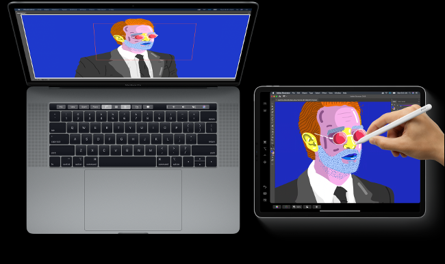 A hand drawing with an Apple Pencil on an iPad next to a MacBook Pro with the same image on its screen.