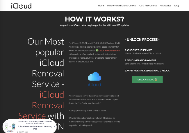 The iCloud Removal Service website.