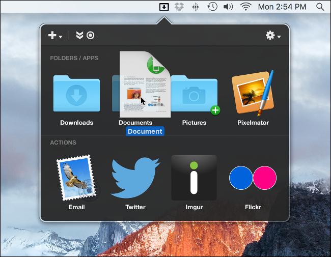 Dropzone menu on a Mac.