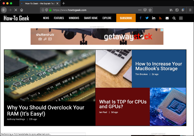 The How-To Geek website in Firefox.