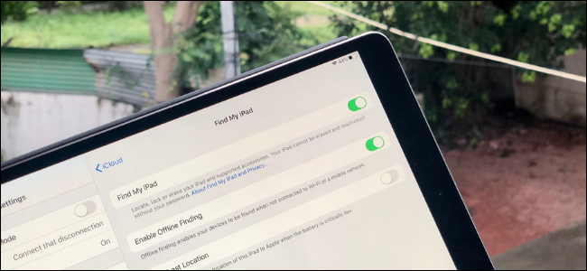 Find My iPad toggle in Settings on an iPad Pro.