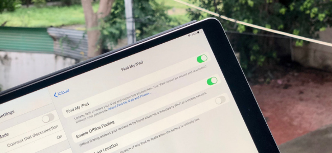 Find My iPad toggle in Settings on an iPad Pro.