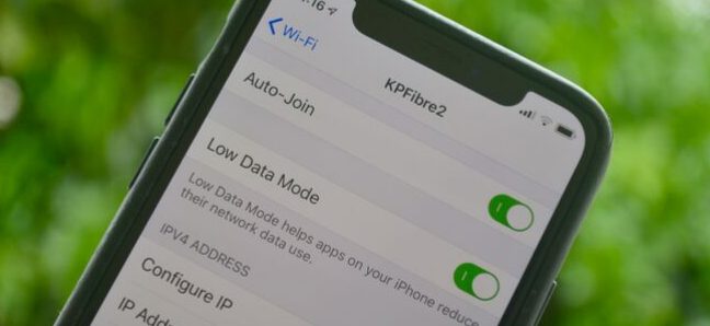 iPhone settings screen showing Low Data mode for a Wi-Fi network on iOS 13