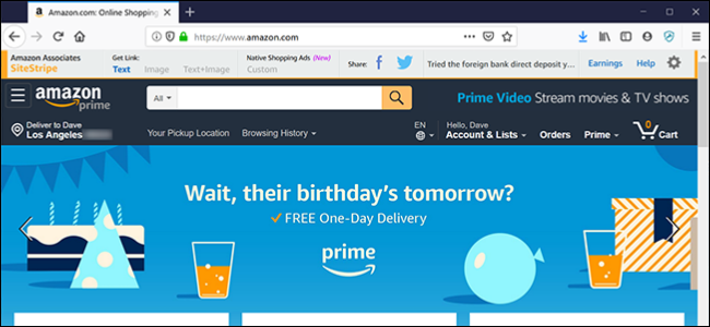 The Amazon personalized home page.