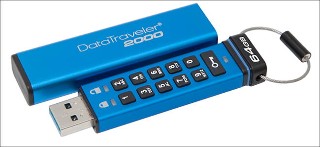 A Kingston encrypted flash drive with numeric keypad.