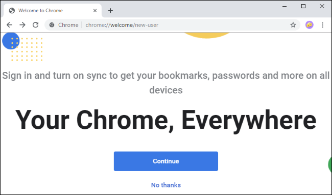 Chrome's new welcome screen.