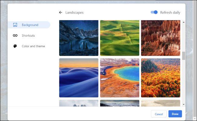 Opciones de fondo para la página de nueva pestaña de Chrome 77.
