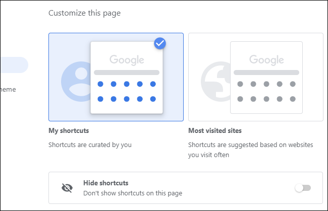 Choosing which shortcuts appear on Chrome's New Tab page.