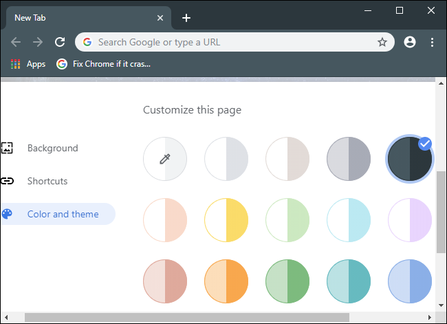 Picking a color and theme for the Chrome browser.