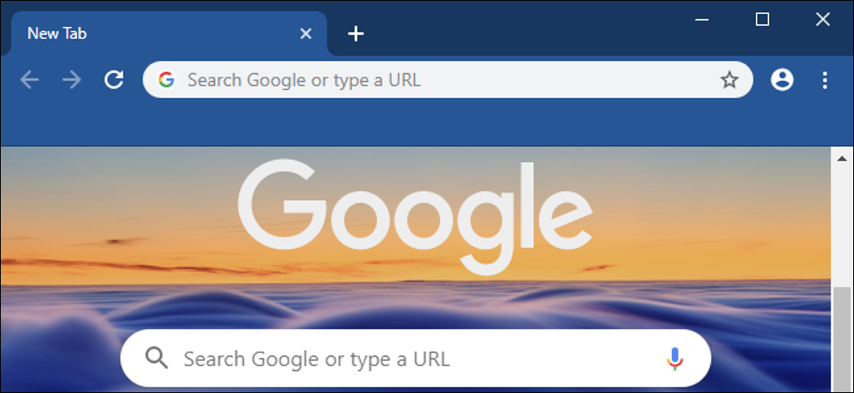 Chrome 77's New Tab page with a pretty background image and browser theme.