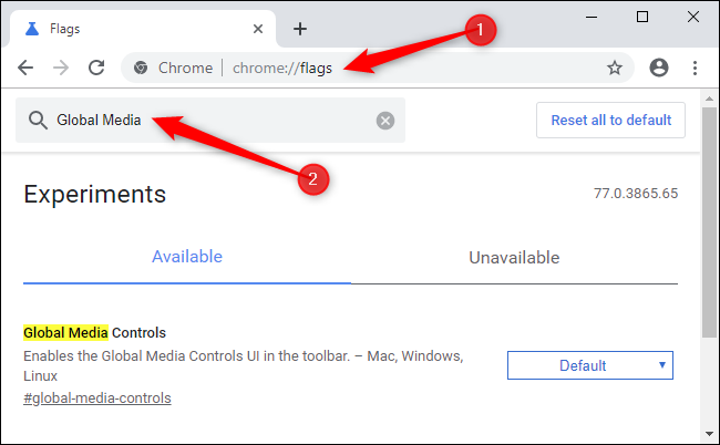 Enabling global media controls in Google Chrome.
