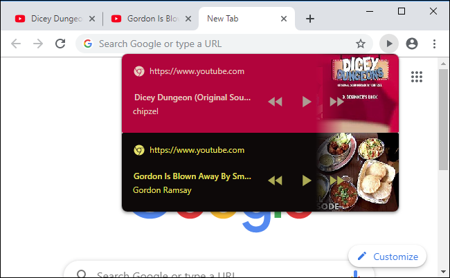Multiple websites showing playback controls on Chrome's browser toolbar.