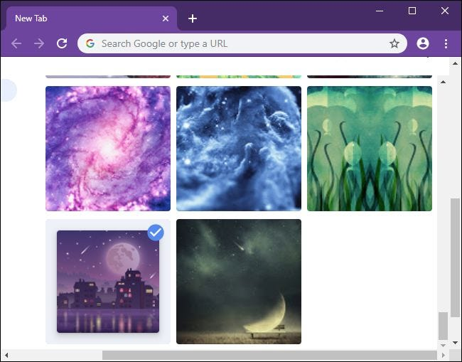 Picking a background image for Chrome's New Tab page.