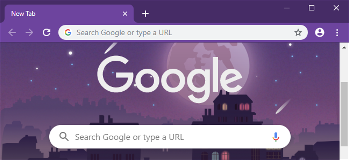 Chrome browser with customized colors and New Tab page background.