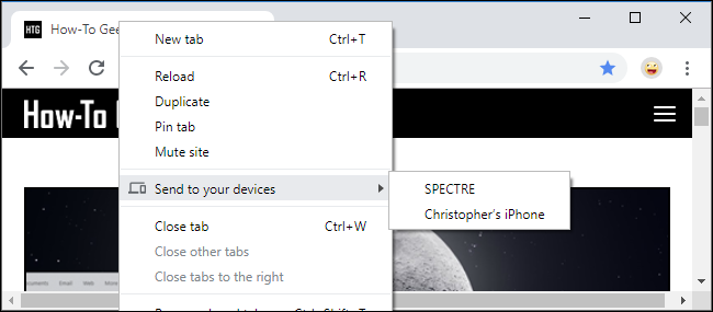 Send Tab to Your Devices on Chrome