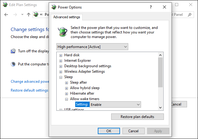 Enabling wake timers in Windows 10's control panel