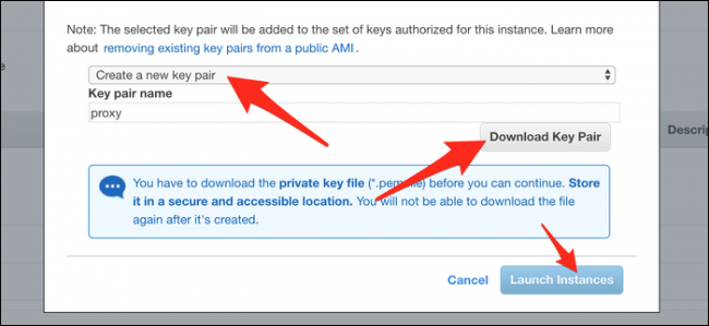 """Click """"Create a New Key Pair,"""" and then click """"Download Key Pair."""" After it downloads, click """"Launch Instances."""""""