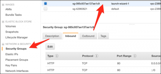 """Click the """"Security Groups"""" tab, and then select the group (probably """"Launch-Wizard-1"""") your instance is using."""