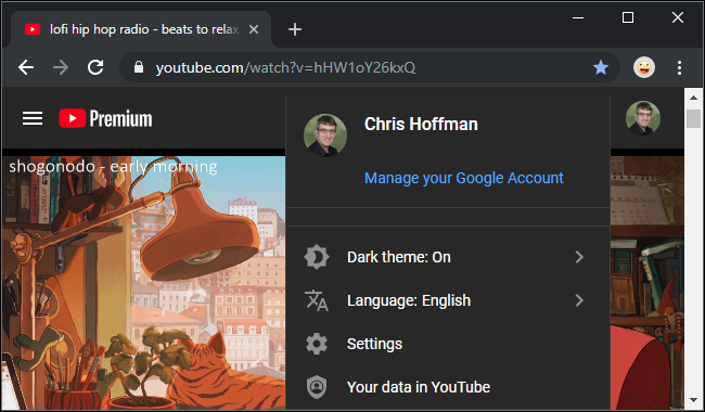 YouTube's webside with the dark theme enabled
