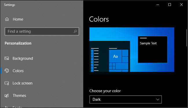 Enabling dark mode in Windows 10's Settings app