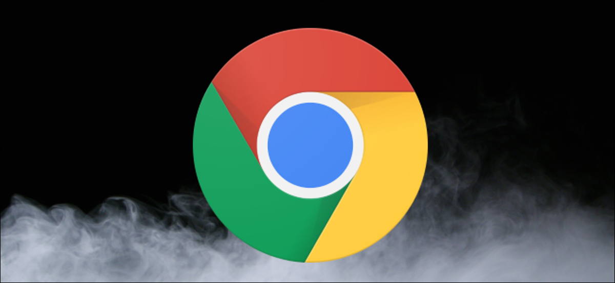 Chrome logo over a dark background with dry ice smoke clouds.