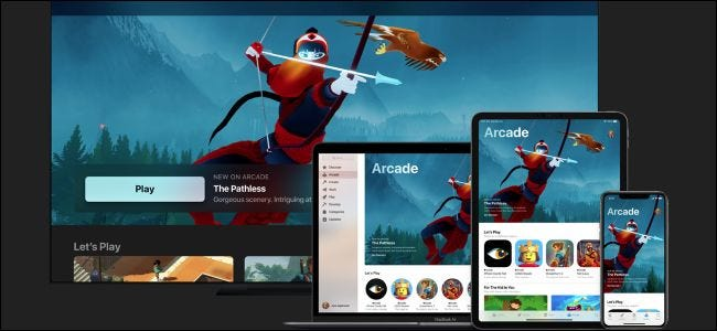 Apple Arcade on Apple TV, MacBook, iPad, and iPhone.