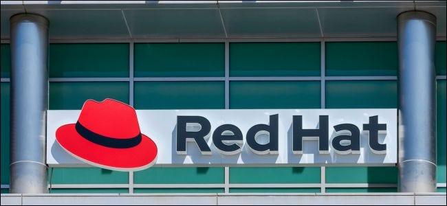 Red Hat logo at the company's office in Silicon Valley.