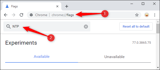 Searching for NTP flags on Chrome's Flags page.