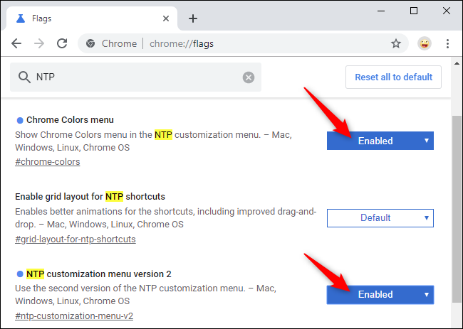 Enabling Chrome's new New Tab Page customization flags.