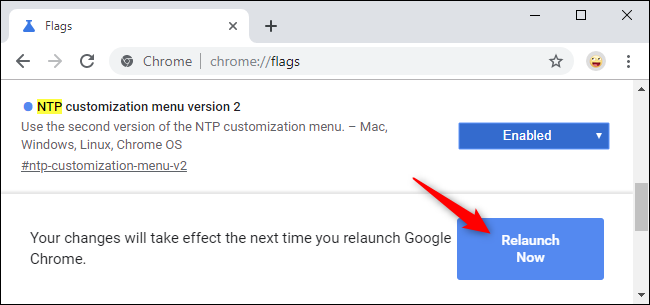Relaunching Chrome after enabling the new NTP customization menu.