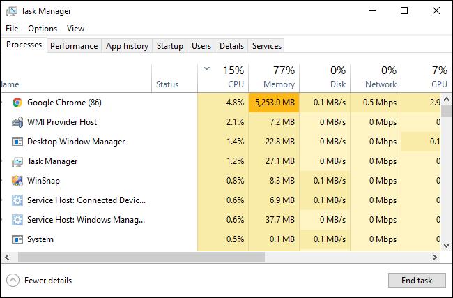 Administrador de tareas de Windows 10 que muestra los procesos en ejecución.