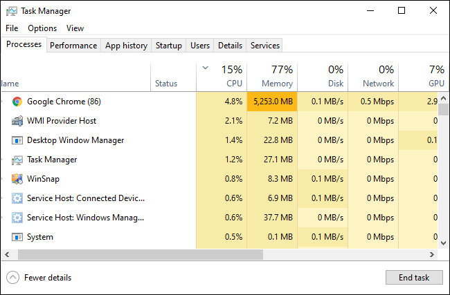 Windows 10's Task Manager showing running processes.