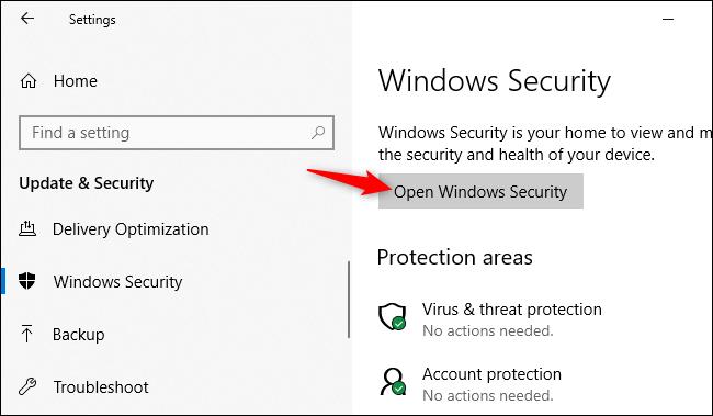 Abriendo la aplicación de seguridad de Windows desde la configuración de Windows 10.
