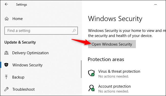 Opening the Windows Security application from Windows 10's Settings.