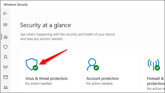 Opening the Virus & threat protection settings in Windows Security.