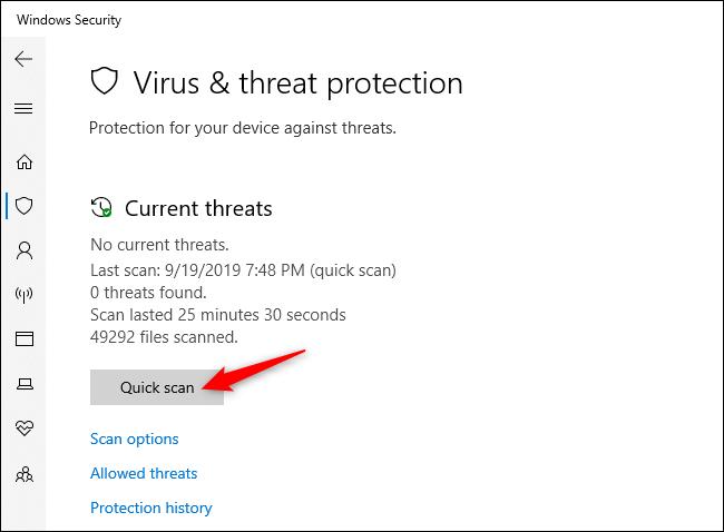 Escaneo manual en busca de virus y otro malware en Seguridad de Windows.