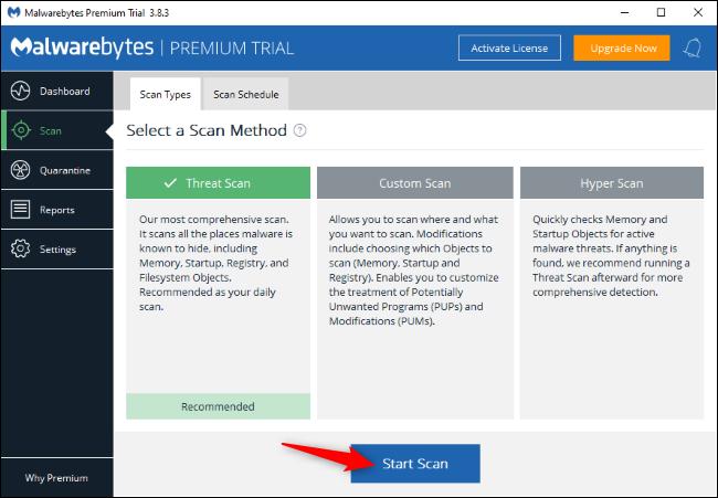 Scanning for malware with Malwarebytes on Windows.