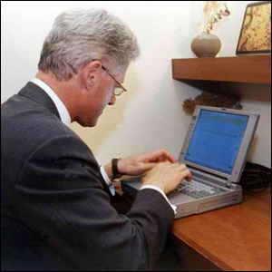 President Bill Clinton sending the first presidential email