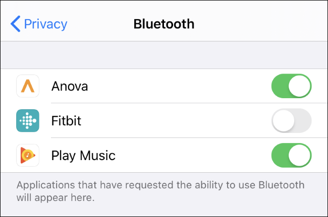 Seeing and controlling which apps can use Bluetooth on an iPhone or iPad.
