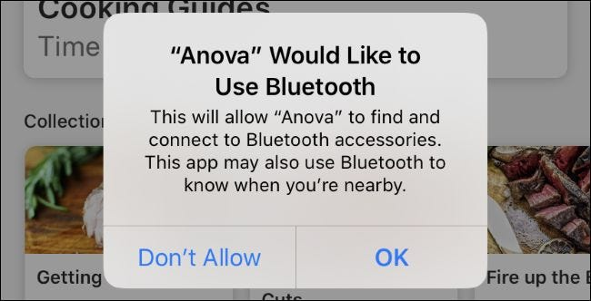 The Anova app's generic Bluetooth permission request message on iOS 13.