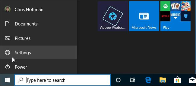 Start menu navigation bar in Windows 10 19H2.