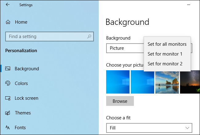 How To Set A Different Wallpaper On Each Monitor In Windows 10
