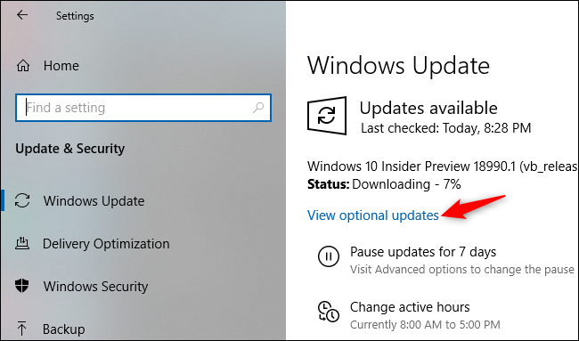 Viewing optional updates on Windows Update's Settings screen.