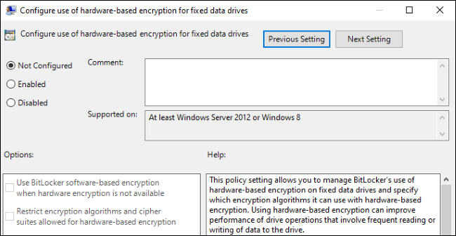 Option to enable or disable hardware-based encryption for BitLocker in Windows 10 Group Policy.